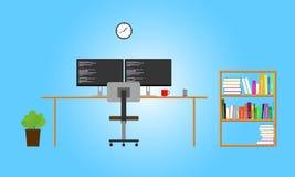 Programmer workspace. Programmer or developer workspace and stuff stock illustration