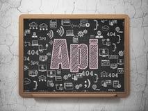 Programmera begrepp: Api på skolförvaltningbakgrund stock illustrationer