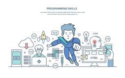 Programmera expertis Programmera i på hög nivå språk och kodifiera, framkallande applikationer Royaltyfri Fotografi