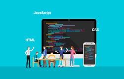 Programmera frontend developepr för website som tillsammans arbetar - vektorn stock illustrationer