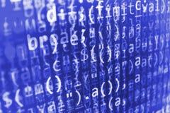 Programmera kodabstrakt begreppskärmen av programvarubärare Royaltyfria Bilder