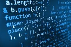 Programmera kodabstrakt begreppskärmen av programvarubärare Royaltyfri Foto