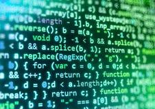 Programmera kodifiera skärmen för källkod Arkivbild
