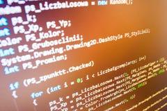 Programmera kodifiera skärmen för källkod Fotografering för Bildbyråer