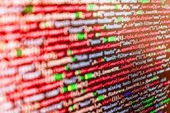 Programmera kodifiera skärmen för källkod Royaltyfri Bild