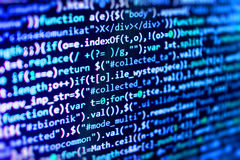 Programmera kodifiera skärmen för källkod Arkivfoton