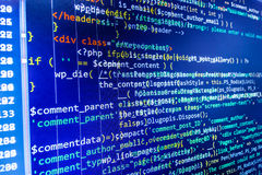 Programmera kodifiera skärmen för källkod Arkivbilder