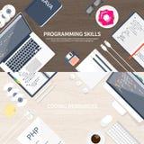 Programmera och kodifiera plan beräknande bakgrund Kod maskinvara, programvara Rengöringsdukutveckling SEO Search motor stock illustrationer