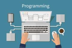 Programmera och kodifiera, websitedeveopment, rengöringsduk Arkivbilder