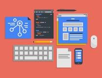 Programmera och rengöringsdukutvecklingsprocessillustration Arkivfoton