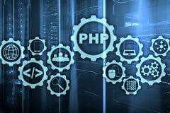 Programmera spr?k f?r PHP Framkallande programmera och kodifiera teknologier Cyberutrymmebegrepp royaltyfri foto