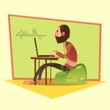 Programmerare Cartoon Illustration Royaltyfri Bild