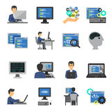 Programmerare Icons Flat Set stock illustrationer