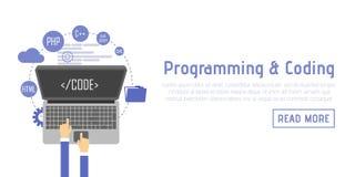Programmerare på datorskrivbordet som arbetar på program Programvarubegrepp Design för vektorillustrationlägenhet Man som arbetar royaltyfri illustrationer