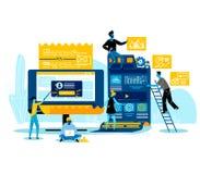 Programmerare som arbetar skapa tillsammans den nya websiten vektor illustrationer