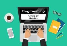 Programmerare som kodifierar på bärbar datordatoren på arbetsskrivbordet, freelancersammanträde på den funktionsdugliga tabellen  Royaltyfria Bilder