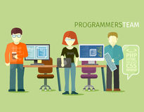 Programmerare Team People Group Flat Style royaltyfri illustrationer