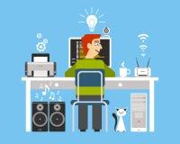 Programmerare On Workplace Concept vektor illustrationer