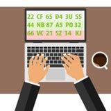 Programmeraren skriver programmet på bärbara datorn Händer av en man ligger på bärbar datortangentbordet stock illustrationer