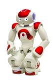 Programmerbar robot på vit Fotografering för Bildbyråer