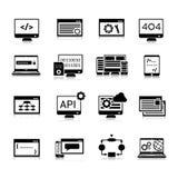 Programmerende Pictogrammenzwarte Stock Afbeelding