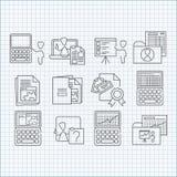 Programmering, onderwijs en het ontwikkelen van geplaatste pictogrammen Stock Fotografie