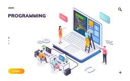 Programmeringsbureau met ontwikkelaars en notitieboekje royalty-vrije illustratie
