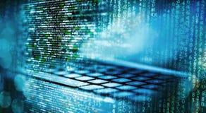 Programmeringscode met computer en matrijs royalty-vrije stock afbeelding
