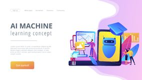 Chatbot self learningconcept landing page. royalty free illustration