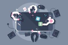 Programmers team mobile app interface development. stock illustration