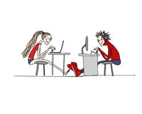 Programmers at work, sketch for your design. Vector illustration Stock Photo