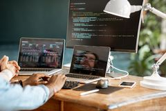 Programmer working with program code royalty free stock photography