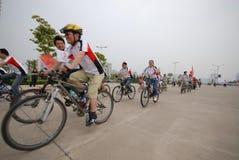 Programmes de remise en forme de masse conducteur-étendus de emballage de bicyclette Photo stock
