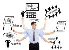Programmes ou multitaskings quotidiens occupés d'homme d'affaires Images stock