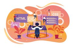 Programmeur Character Working sur l'ordinateur portable teamwork illustration stock