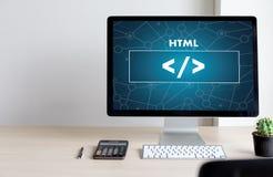 Programmeur de conception de code de Web de PROMOTEUR de HTML de PHP fonctionnant dans un doux photos stock