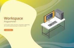 Programmeur ou lotisseur d'espace de travail avec le codage sur l'écran illustration stock