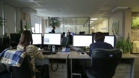 Programmeurs die in bureau werken stock footage