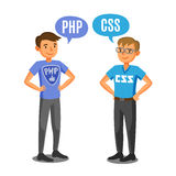 Programmeurs, ontwikkelaars, procescodage, groepswerk Mededeling stock illustratie