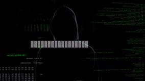 Programmez le chargement, criminel dans le serveur de attente de hoodie entaillant, infraction de données photo stock