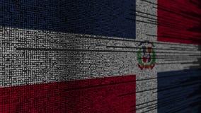 Programmez le code et le drapeau de la République Dominicaine  Animation loopable relative de technologie numérique ou de program illustration stock