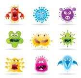 Programmfehler, Mikroben und Virusikonen Lizenzfreie Stockbilder