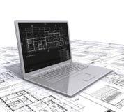 Programmi architettonici del computer portatile Immagine Stock
