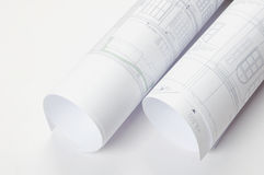Programmi architettonici in rulli Immagine Stock Libera da Diritti