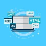 Programmiercode auf Laptopfahne Lizenzfreie Stockfotografie