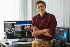 Programmierer bitcoin Bergbau lizenzfreies stockfoto