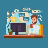 Programmierer Man Vector Klassischer Berufsprogrammierer Man Coding lizenzfreie abbildung