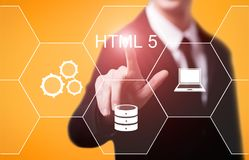 Programmiersprache-Web-Entwicklungs-Kodierungs-Konzept HTML stockbilder