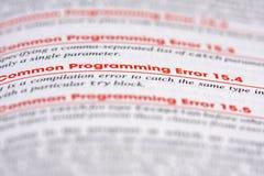 Programmierung-Fehler Stockfotos