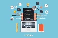 Programmierung - Kodierung des flachen Konzeptes Lizenzfreie Stockfotos